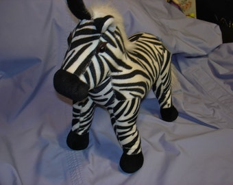 Vintage Large 17 inch Kellytoy Black And White Beanbag Soft, Yet Firm Plush Zebra in Excellent Like New Condition