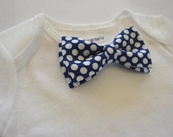 bow tie onesie,baby bow tie onesie,navy blue and white polka dot bow tie,onesie