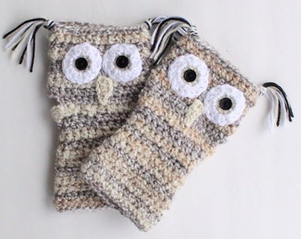 Fingerless Striped Owl Gloves