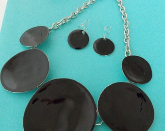 Black Enamel Disc Statement Necklace and Earrings Set