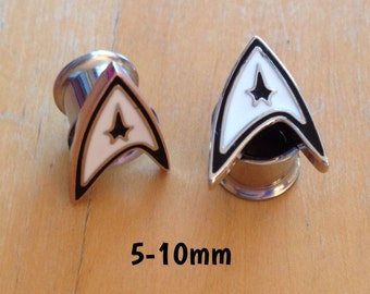 5mm-6mm-8mm-10mm STAR TREK plugs for stretched ears *sci-fi*