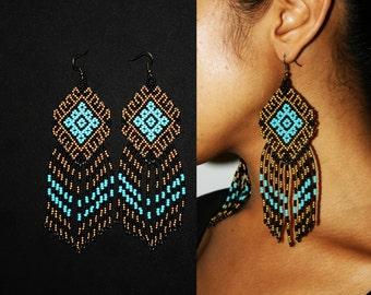 Gold Turquoise Aztec Earrings, Aztec Jewelry, Traditional Beadwork, Huichol Jewelry, Beaded Tribal Earrings, Seed Bead Earrings