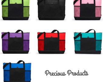 Personalized embroidered zippered tote bag with mesh pockets, lightweight but strong!