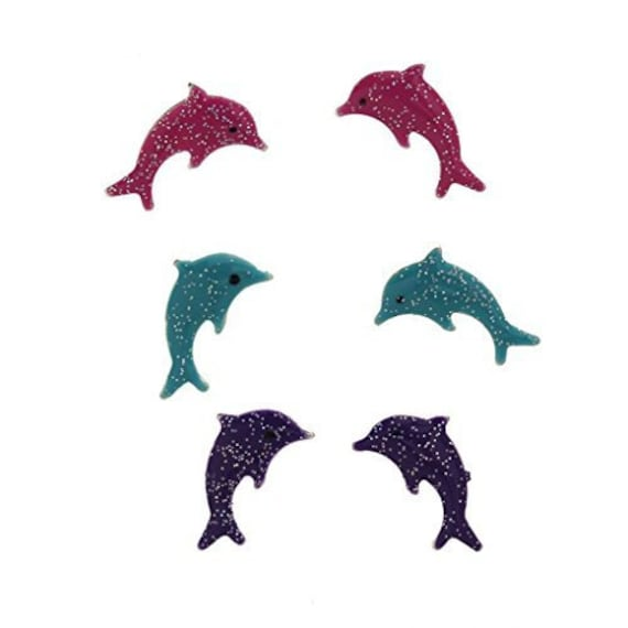 Basket Hill. Pink Blue And Purple Girls Dolphin Earring Set