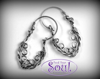 Delicate sterling silver wire wrapped earrings