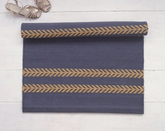 Grey and Yellow Rug, Dark Grey and Mustard Yellow Rug, Handmade Rug, Washable, Double-sided, Woven on the Loom, Made to Order
