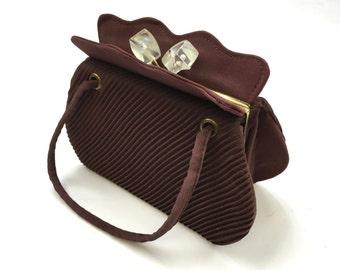 40s Brown Crepe Handbag | Lucite Knob Closure