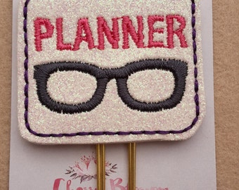 Purple Edged Pink Planner Nerd Geek Glasses Paper Clip