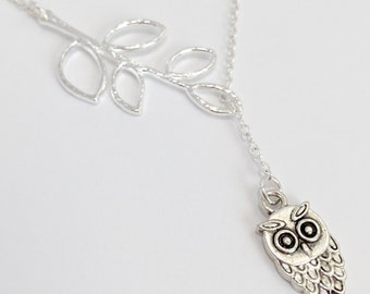 Silver Owl Necklace/Silver Branch Necklace/Silver Owl and Branch Lariat Necklace/Antique Silver Owl and Branch Lariat Necklace