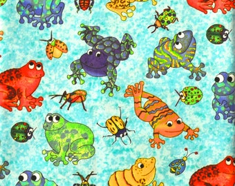 CUSTOM BOYS BOXERS, Bright Multicolored Frogs, Toads, Bugs, Choose Size