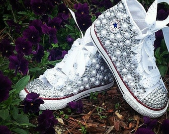 Custom Toddler Bling Converse. Rhinestone Shoes. Pearl Shoes. Bling Shoes.  Custom Converse. Wedding Shoes. Birthday Shoes. Converse