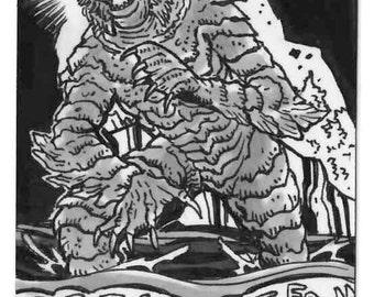 Monster Personal Sketch Card Unique Artwork Local Artist Original Concept