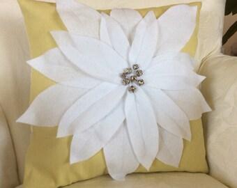 White Poinsettia Pillow, Yellow Green Flower Throw, Christmas Floral Cushion,  Decorative Sham with Poinsettia