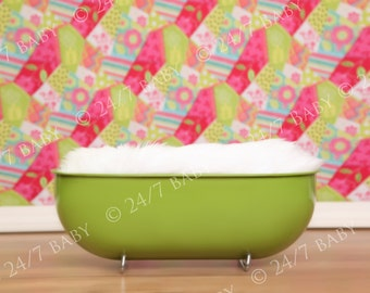 Digital Photography Backdrop Instant Download Newborn Baby Photography Vintage Green Bath Tub Beach Studio Prop