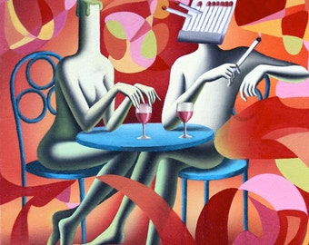Fatten by Mark Kostabi - Original Artwork