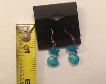 Teal & Copper Dangle Earrings