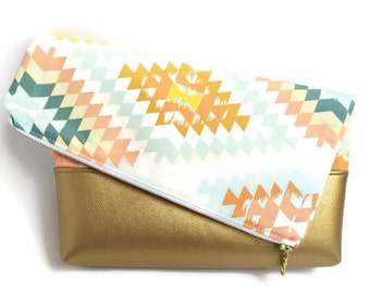 faux leather handbag - pastel - foldover clutch - vegan leather