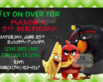 Set of (8) Angry Birds Invitations
