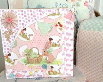 Belle and Boo Easter bunny card, handmade cute greeting card, Just because card you care card to send to a friend,