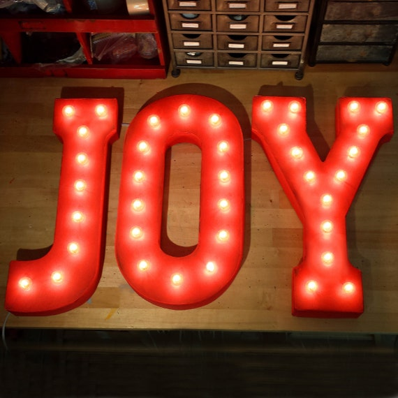 Joy rustic metal letter marquee sign light white red by for Lighted letters joy