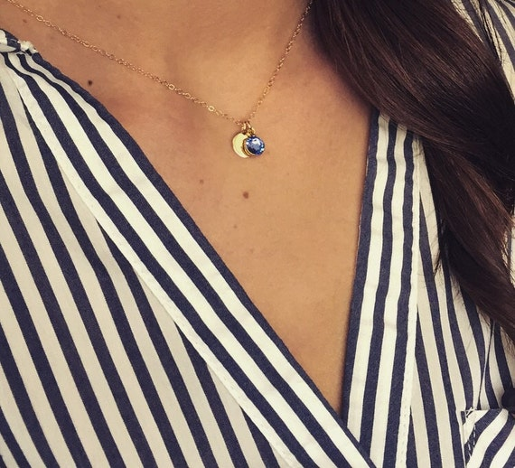 Gold filled initial disc & Swarovski birthstone necklace; personalized birthstone necklace; Bridesmaids gifts