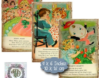 6 Vintage Nursery Rhyme Tags