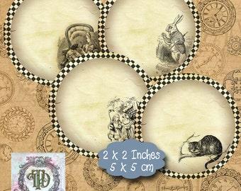 10 Alice in Wonderland 2 inch Circles