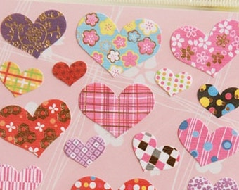 Japanese Chiyogami Paper Heart Stickers 1 Sheet