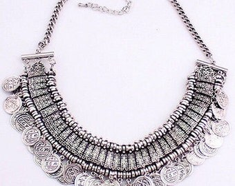 Silver Coins Pendant Statement Bib Chunky Choker Necklace