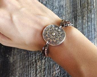 Statement bracelet - multi strand bracelet - chain bracelet - antique silver bracelet - boho bracelet