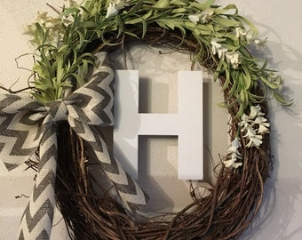 Monogram grapevine wreath