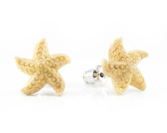 "Hand Carved - ""Starfish Treasure"" - Wood Stud Earring - African Safari"