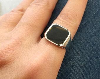 Onyx Ring, black onyx ring, Signet Ring, Pinky ring, Black Ring, Silver Signet Ring, Black square Signet Ring, Genuine Onyx Gemstone