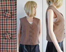 Womans French brown plaid check vest waistcoat hand made brown waistcoat size medium
