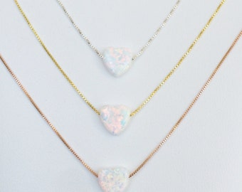 "White opal heart necklace on a real .925 sterling silver box chain size 12"" kids to 22"" white the PERFECT BRIDESMAIDS NECKLACE"