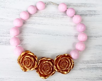 Pink and Gold Triple Rose Bubblegum Necklace, Gold Rose Chunky Necklace, Pink and Gold Toddler Necklace, Pink and Gold 1st Birthday Necklace