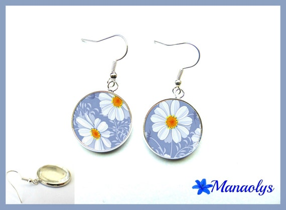 Earrings white flowers on a blue background, glass cabochons