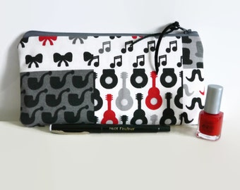 Pencil case, cosmetic case, Small pouch, Music pouch, Gadget pouch, pen bag, teacher gift,music lover, pen bag, guitar pouch, makeup bag