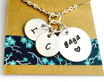 Gaga Necklace, Grandmother Necklace, Grandma Necklace Mimi Necklace Mom  Necklace, Mother's Day Necklace, Mom Gift, Initial Necklace