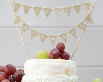 Vintage Wedding Cake Topper Bunting - Rustic hessian theme wedding cake bunting topper flags 'JUST MARRIED'