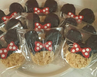 Minnie Mouse Chocolate Dipped Rice Krispie Treat