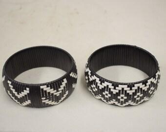 Bracelets African 4 Woven Black White Bangles Mali Handmade Men Women Jewelry Black White Beads Bracelets