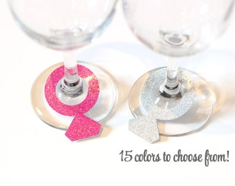 Wine Ring Charms - Any Color Glitter