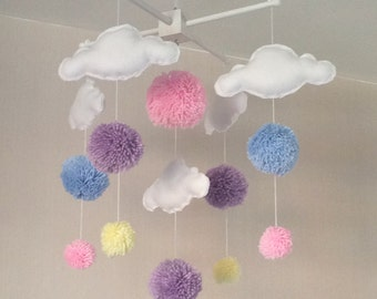 Baby mobile - Cot mobile - clouds and pom poms - Cloud Mobile - Baby girl mobile - Nursery Decor - Pastel Nursery