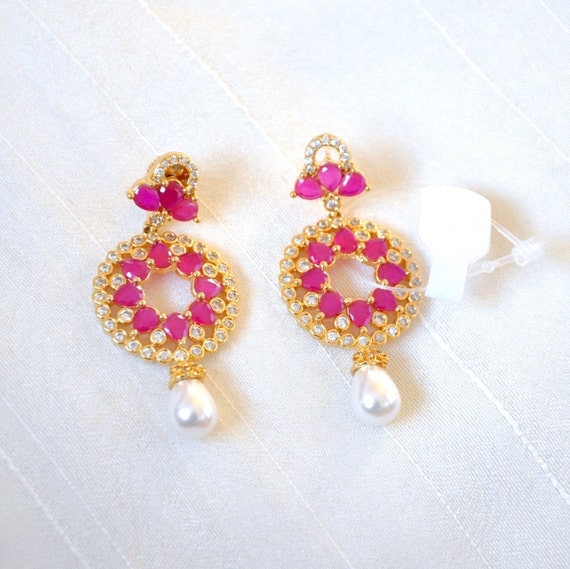 Cubic zirconia earrings | Indian Jewelry | Indian Earrings | Gold plated