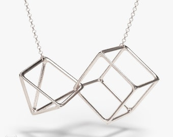science jewelry: silver interlocked geometry necklace - 3D printed math pendant - wearable geometry -triangle - square - cube