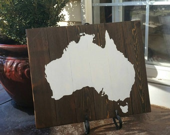 21x17 Wood Continent Wall Art -Australia