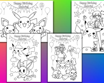 Pokemon Birthday Party coloring pages, activity, Personalized, PDF file