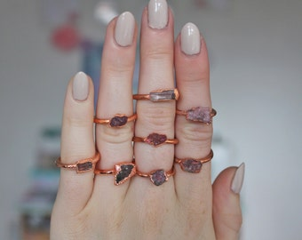 Pink tourmaline ring - rough crystal ring - copper crystal ring - pink stone ring - boho ring - raw stone ring - gifts for her