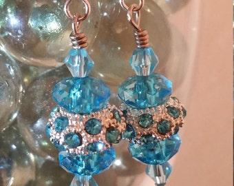 Aquamarine Paved Pandora Crystal Bead Earrings